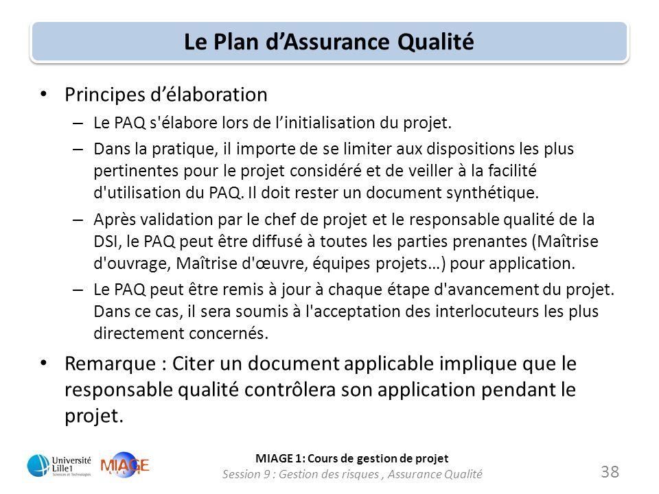 MIAGE 1: Cours de gestion de projet Session 9 : Gestion des risques, Assurance Qualité Le Plan dAssurance Qualité Principes délaboration – Le PAQ s'él