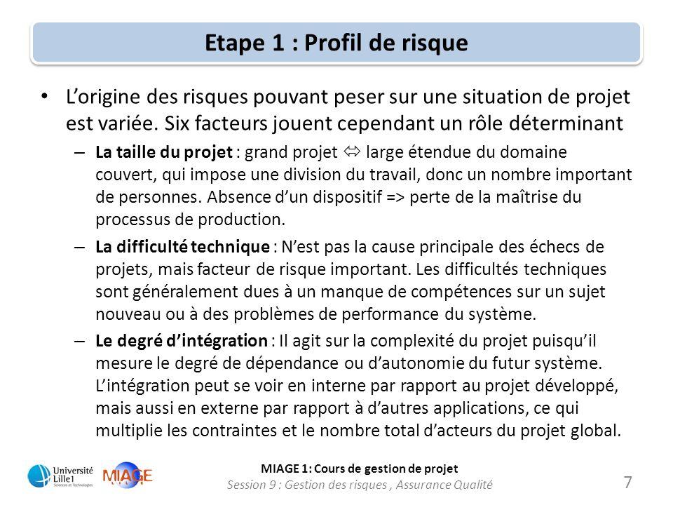 MIAGE 1: Cours de gestion de projet Session 9 : Gestion des risques, Assurance Qualité Etape 1 : Profil de risque Suite des facteurs : – La configuration organisationnelle : correspond à lampleur de lentreprise touchée par le projet.