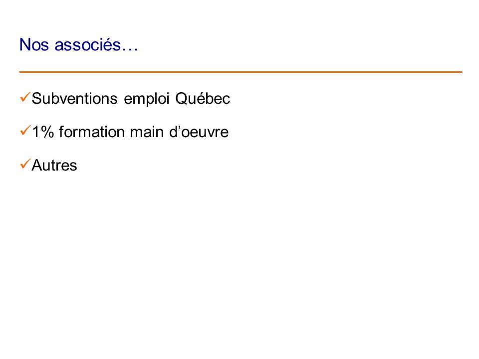 Nos associés… Subventions emploi Québec 1% formation main doeuvre Autres