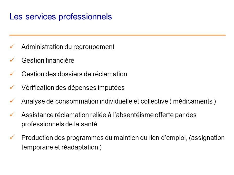 Les services professionnels Administration du regroupement Gestion financière Gestion des dossiers de réclamation Vérification des dépenses imputées A