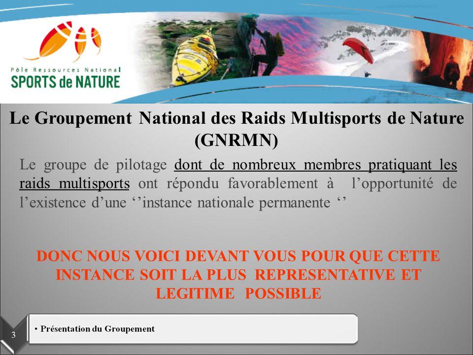 GROUPEMENT NATIONAL DES RAIDS MULTISPORTS DE NATURE Le groupe de pilotage dont de nombreux membres pratiquant les raids multisports ont répondu favora