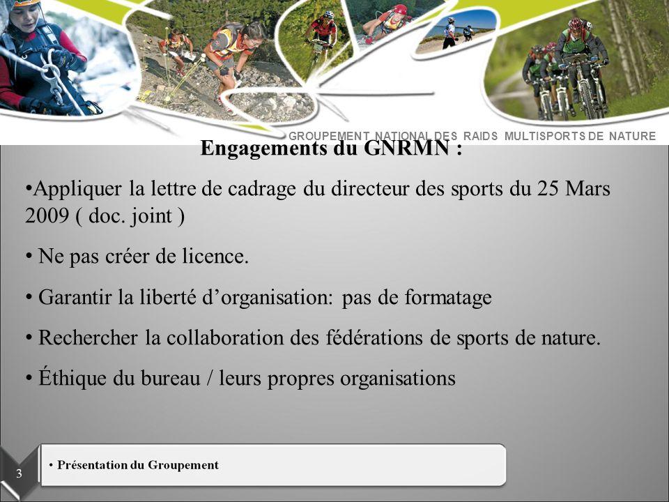 GROUPEMENT NATIONAL DES RAIDS MULTISPORTS DE NATURE Engagements du GNRMN : Appliquer la lettre de cadrage du directeur des sports du 25 Mars 2009 ( do