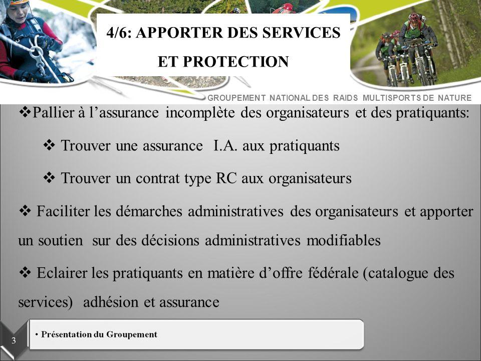 GROUPEMENT NATIONAL DES RAIDS MULTISPORTS DE NATURE Pallier à lassurance incomplète des organisateurs et des pratiquants: Trouver une assurance I.A. a