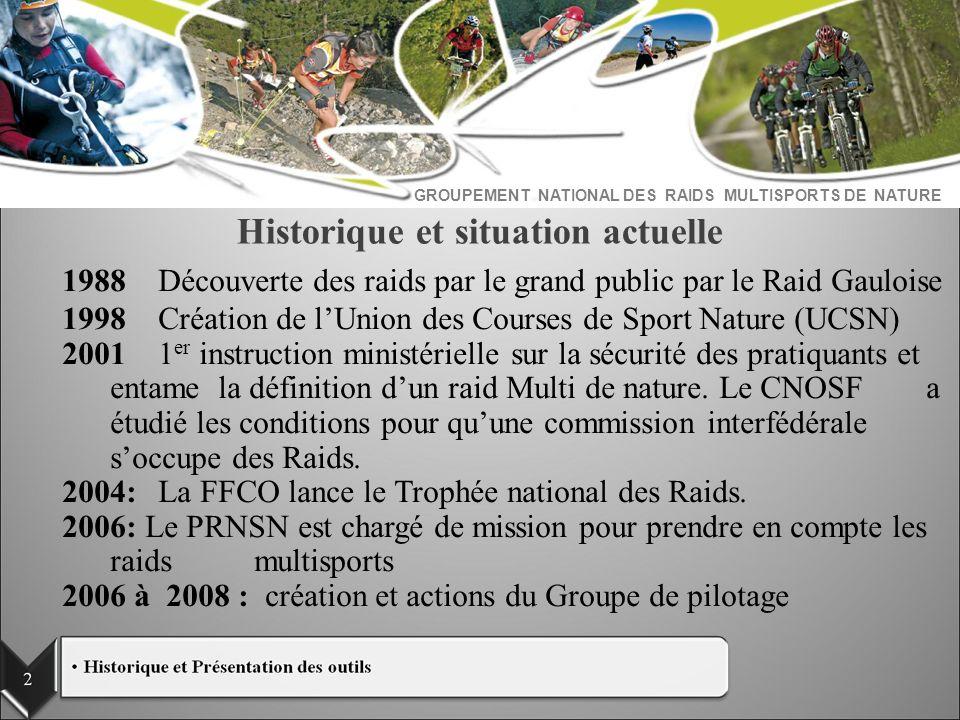 Historique et situation actuelle 1988Découverte des raids par le grand public par le Raid Gauloise 1998Création de lUnion des Courses de Sport Nature