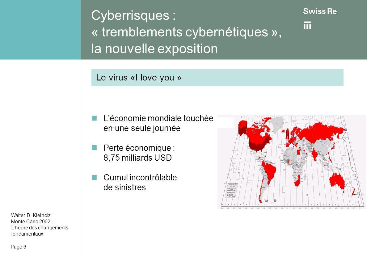 Page 6 Cyberrisques : « tremblements cybernétiques », la nouvelle exposition L économie mondiale touchée en une seule journée Perte économique : 8,75 milliards USD Cumul incontrôlable de sinistres Le virus «I love you » Walter B.