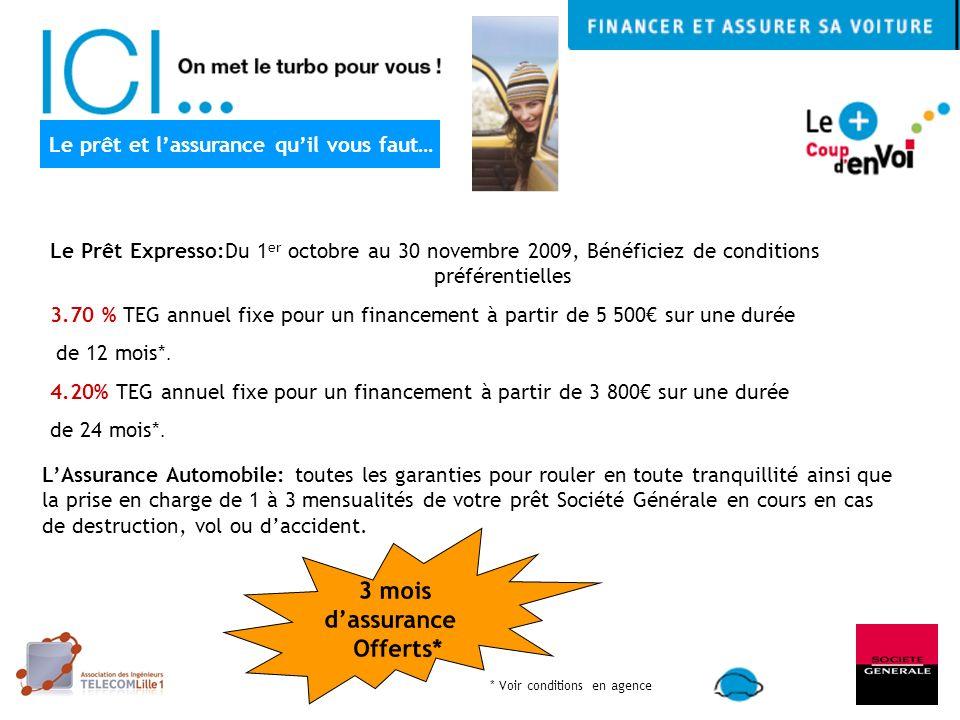 Le Prêt Expresso:Du 1 er octobre au 30 novembre 2009, Bénéficiez de conditions préférentielles 3.70 % TEG annuel fixe pour un financement à partir de 5 500 sur une durée de 12 mois*.