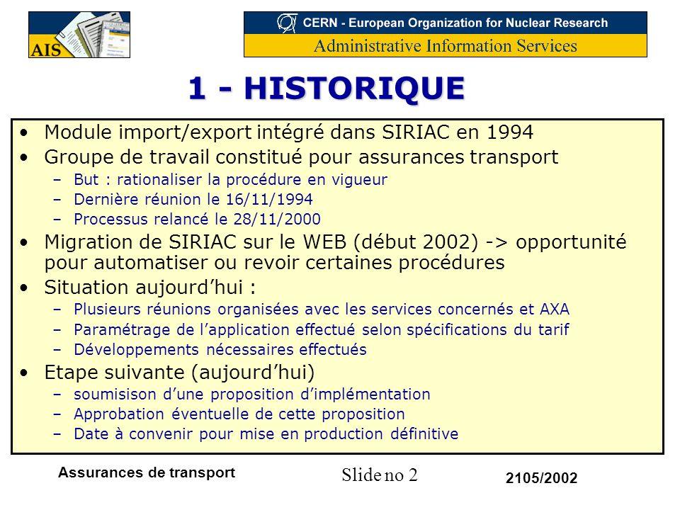 Slide no 2 2105/2002 Assurances de transport 1 - HISTORIQUE Module import/export intégré dans SIRIAC en 1994 Groupe de travail constitué pour assuranc