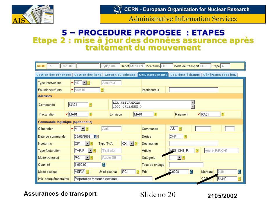Slide no 20 2105/2002 Assurances de transport 5 – PROCEDURE PROPOSEE : ETAPES Etape 2 : mise à jour des données assurance après traitement du mouvemen