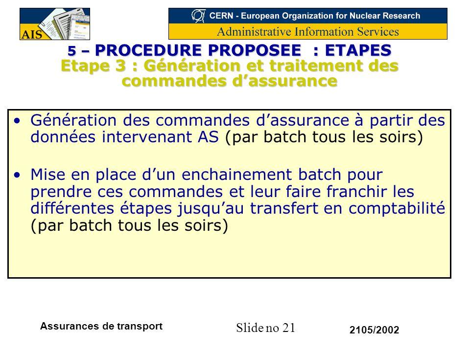 Slide no 21 2105/2002 Assurances de transport 5 – PROCEDURE PROPOSEE : ETAPES Etape 3 : Génération et traitement des commandes dassurance Génération d