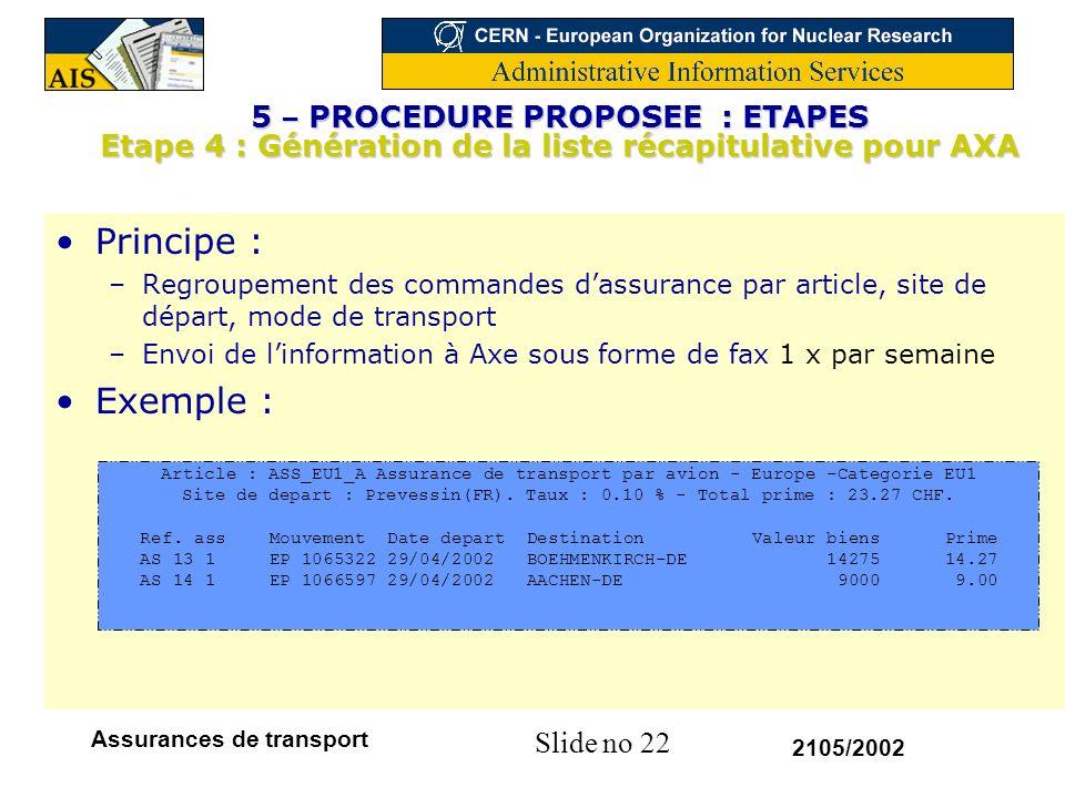Slide no 22 2105/2002 Assurances de transport Principe : –Regroupement des commandes dassurance par article, site de départ, mode de transport –Envoi
