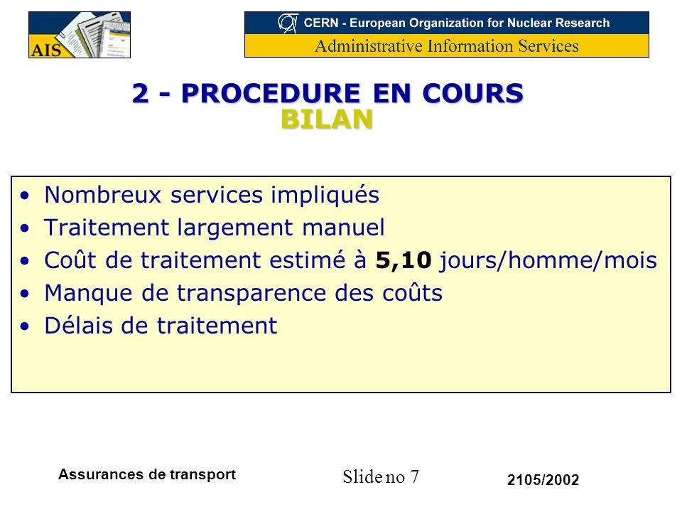 Slide no 18 2105/2002 Assurances de transport 5 – PROCEDURE PROPOSEE : ETAPES Etape 1 : Intégration EDH (mouvement)