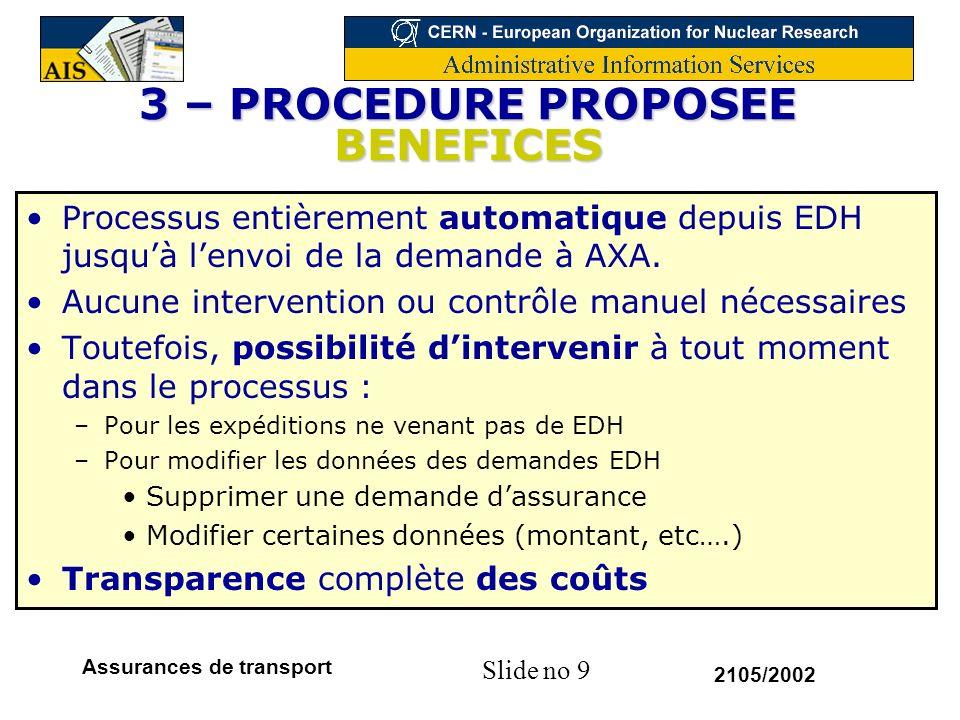 Slide no 9 2105/2002 Assurances de transport 3 – PROCEDURE PROPOSEE BENEFICES Processus entièrement automatique depuis EDH jusquà lenvoi de la demande