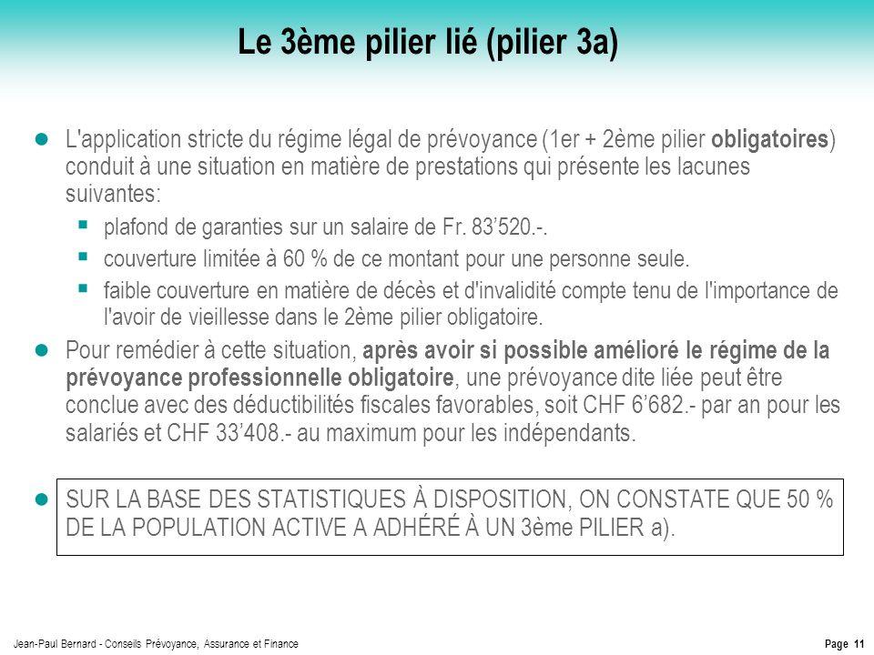 Page 11 Jean-Paul Bernard - Conseils Prévoyance, Assurance et Finance Le 3ème pilier lié (pilier 3a) L'application stricte du régime légal de prévoyan