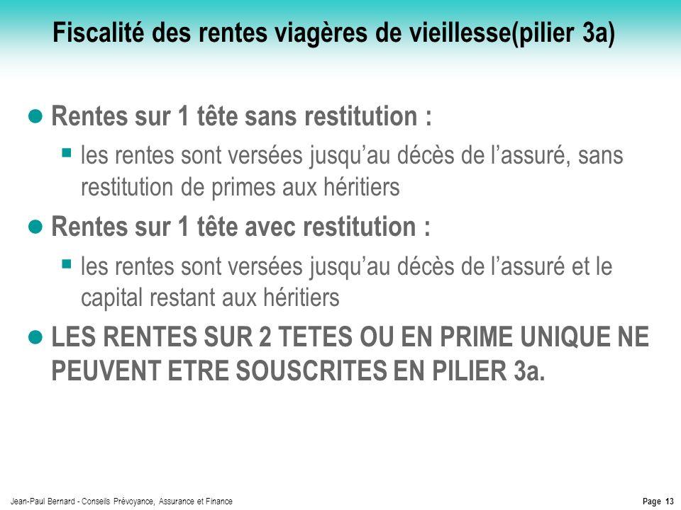 Page 13 Jean-Paul Bernard - Conseils Prévoyance, Assurance et Finance Fiscalité des rentes viagères de vieillesse(pilier 3a) Rentes sur 1 tête sans re