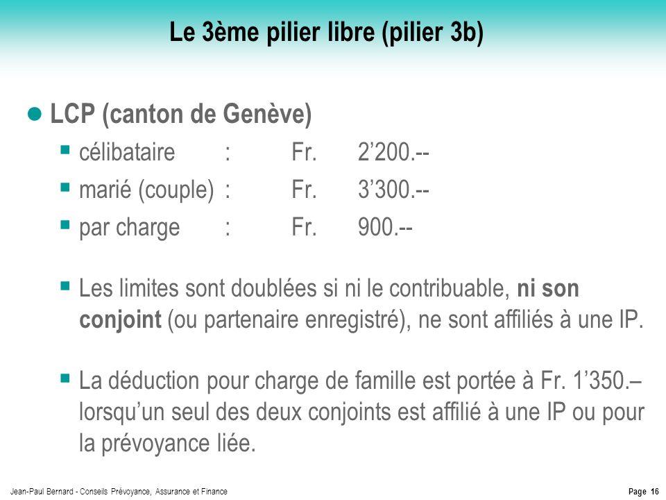 Page 16 Jean-Paul Bernard - Conseils Prévoyance, Assurance et Finance Le 3ème pilier libre (pilier 3b) LCP (canton de Genève) célibataire:Fr.2200.-- m