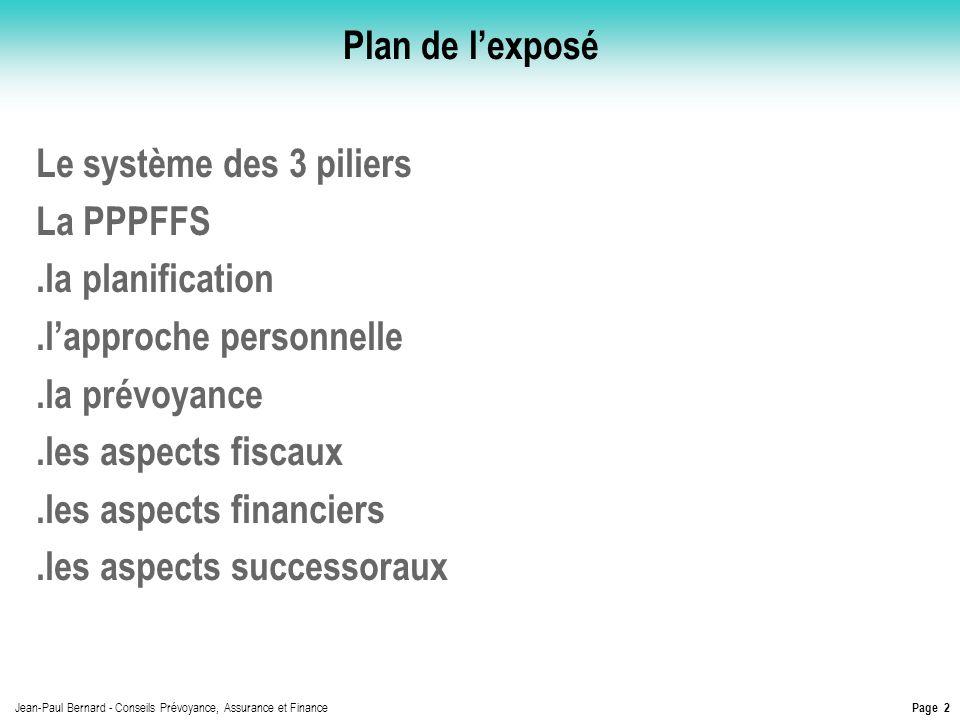 Page 2 Jean-Paul Bernard - Conseils Prévoyance, Assurance et Finance Plan de lexposé Le système des 3 piliers La PPPFFS.la planification.lapproche per