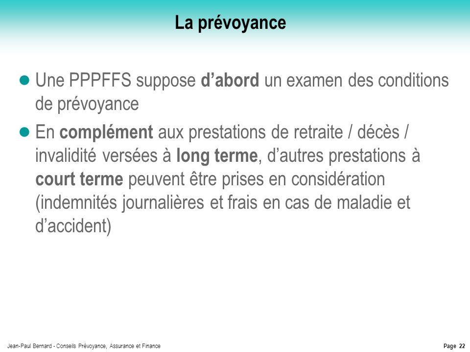 Page 22 Jean-Paul Bernard - Conseils Prévoyance, Assurance et Finance La prévoyance Une PPPFFS suppose dabord un examen des conditions de prévoyance E