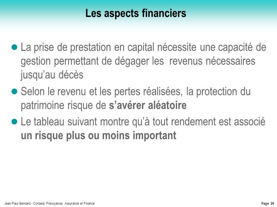 Page 29 Jean-Paul Bernard - Conseils Prévoyance, Assurance et Finance Les aspects financiers La prise de prestation en capital nécessite une capacité
