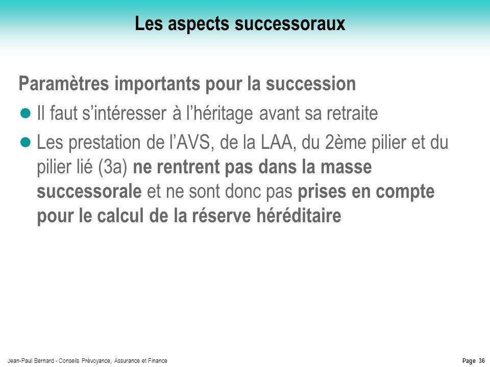 Page 36 Jean-Paul Bernard - Conseils Prévoyance, Assurance et Finance Les aspects successoraux Paramètres importants pour la succession Il faut sintér