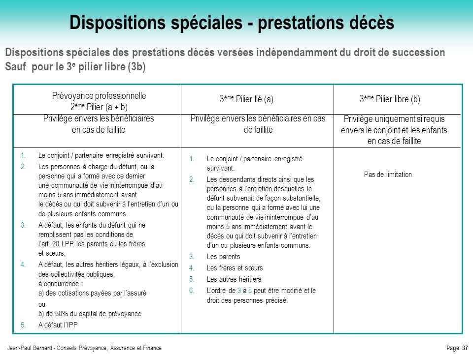 Page 37 Jean-Paul Bernard - Conseils Prévoyance, Assurance et Finance Dispositions spéciales des prestations décès versées indépendamment du droit de