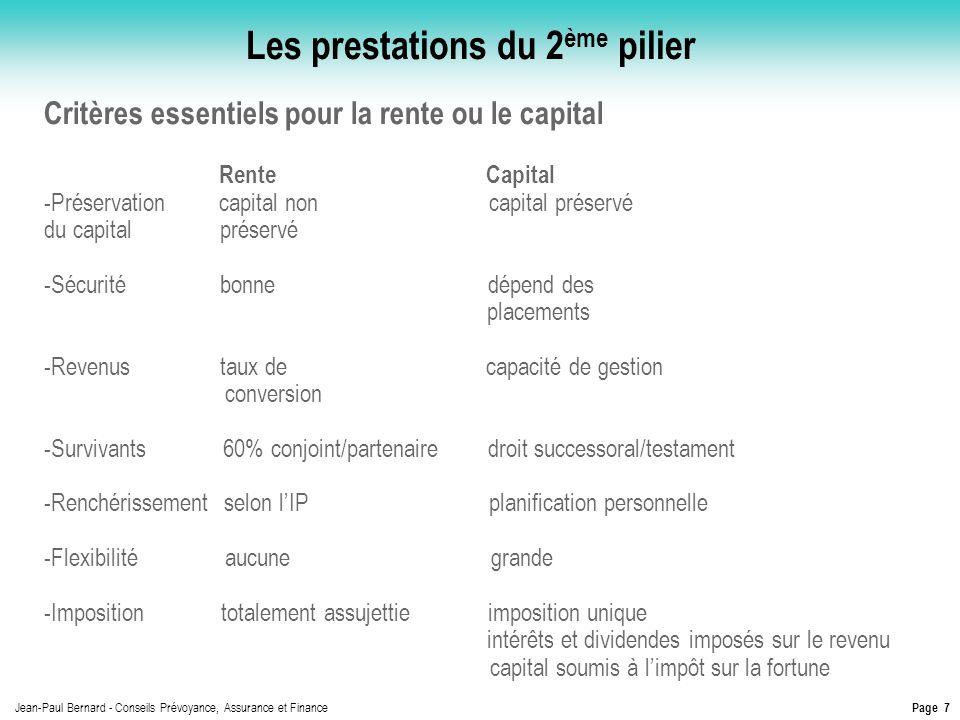 Page 7 Jean-Paul Bernard - Conseils Prévoyance, Assurance et Finance Les prestations du 2 ème pilier Critères essentiels pour la rente ou le capital R