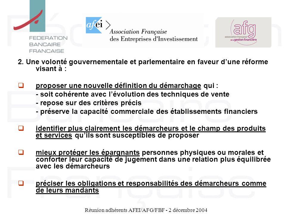 Réunion adhérents AFEI/AFG/FBF - 2 décembre 2004 Le nouveau régime global du démarchage bancaire et financier VII - La déontologie du démarchage 1.Les obligations déontologiques préalables à lacte de démarchage (art.