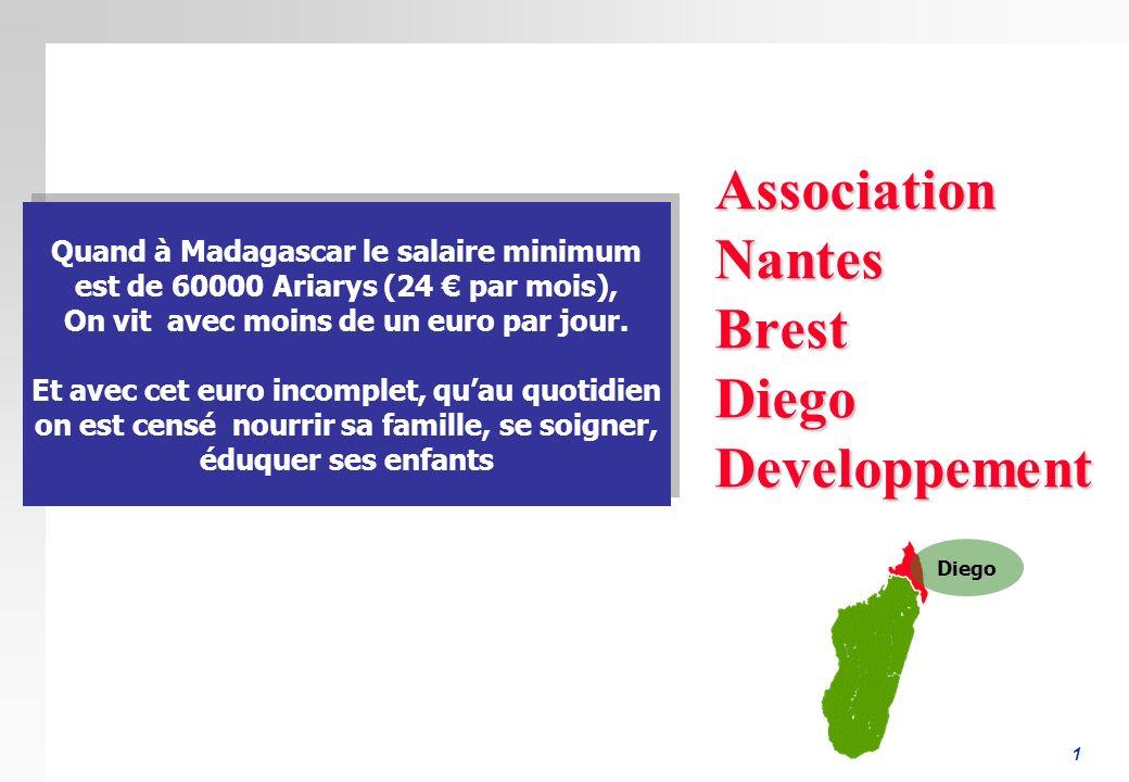 1 AssociationNantesBrestDiegoDeveloppement Quand à Madagascar le salaire minimum est de 60000 Ariarys (24 par mois), On vit avec moins de un euro par