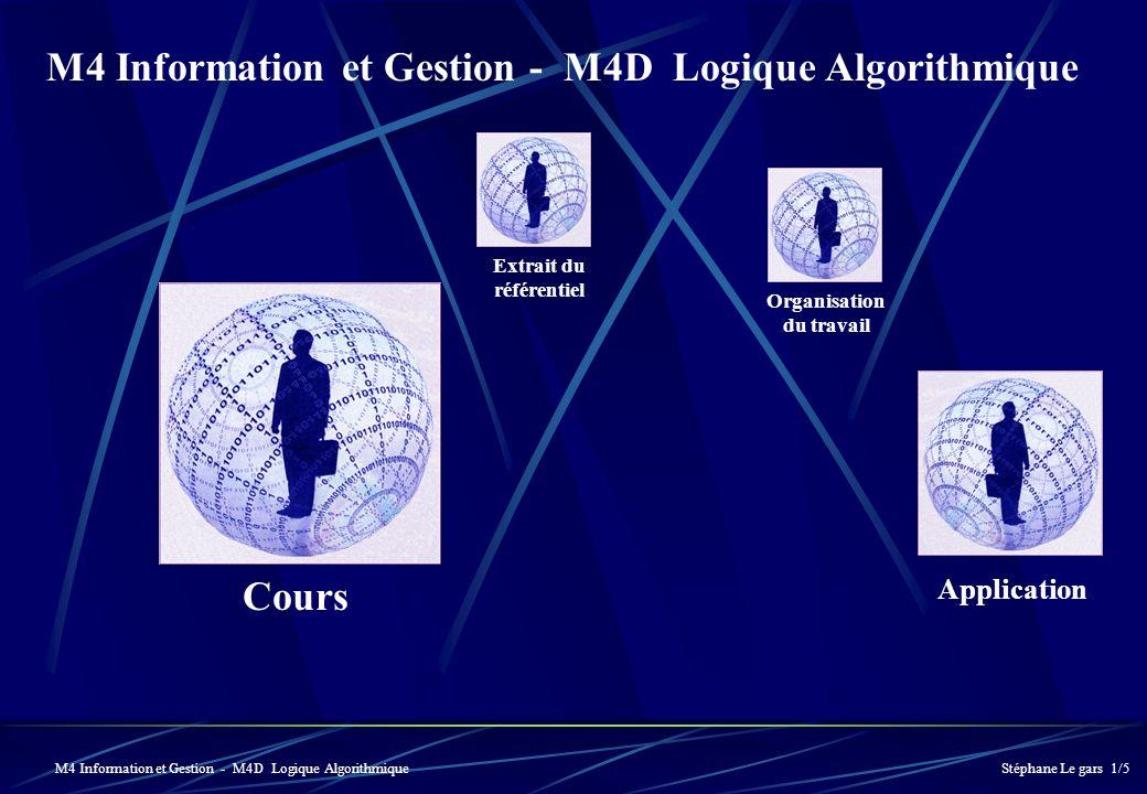 Extrait du référentiel Cours Application Stéphane Le gars 1/5 Organisation du travail M4 Information et Gestion - M4D Logique Algorithmique