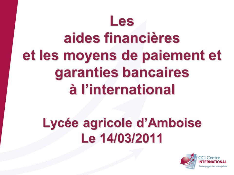 BGC, CCI CI 02/06/08 Les aides financières et les moyens de paiement et garanties bancaires à linternational Lycée agricole dAmboise Le 14/03/2011