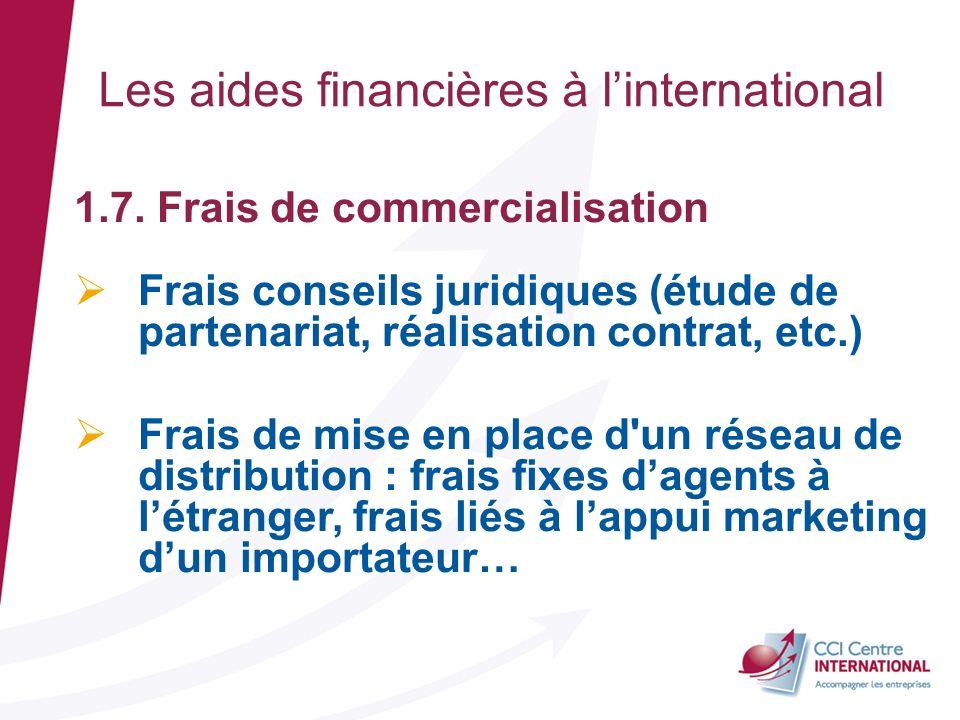 1.7. Frais de commercialisation Frais conseils juridiques (étude de partenariat, réalisation contrat, etc.) Frais de mise en place d'un réseau de dist