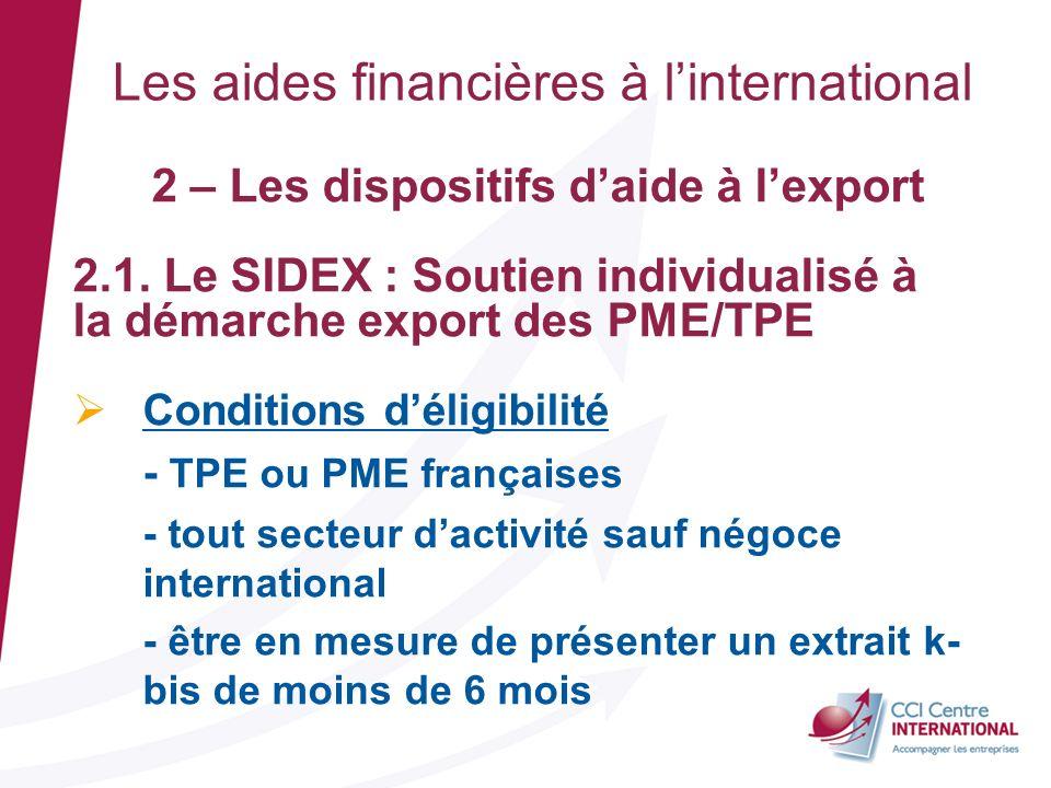 2 – Les dispositifs daide à lexport 2.1. Le SIDEX : Soutien individualisé à la démarche export des PME/TPE Conditions déligibilité - TPE ou PME frança