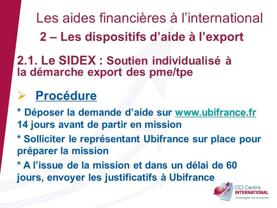 Les aides financières à linternational 2 – Les dispositifs daide à lexport 2.1. Le SIDEX : Soutien individualisé à la démarche export des pme/tpe Proc