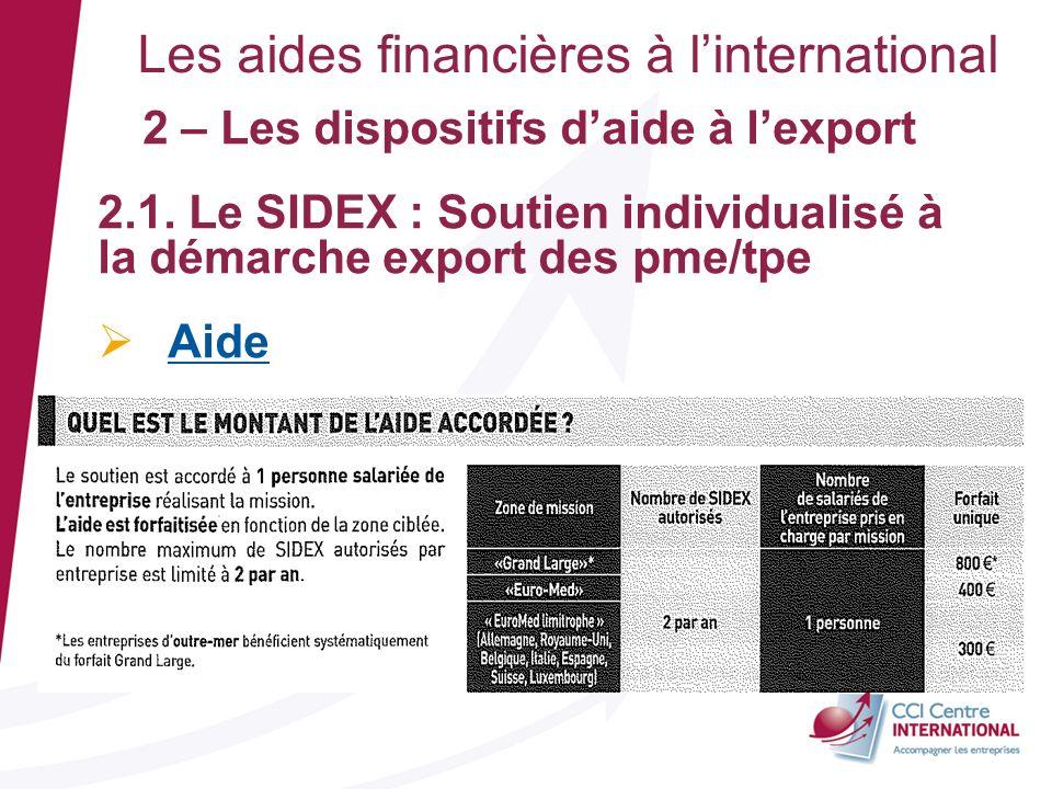 Les aides financières à linternational 2 – Les dispositifs daide à lexport 2.1. Le SIDEX : Soutien individualisé à la démarche export des pme/tpe Aide