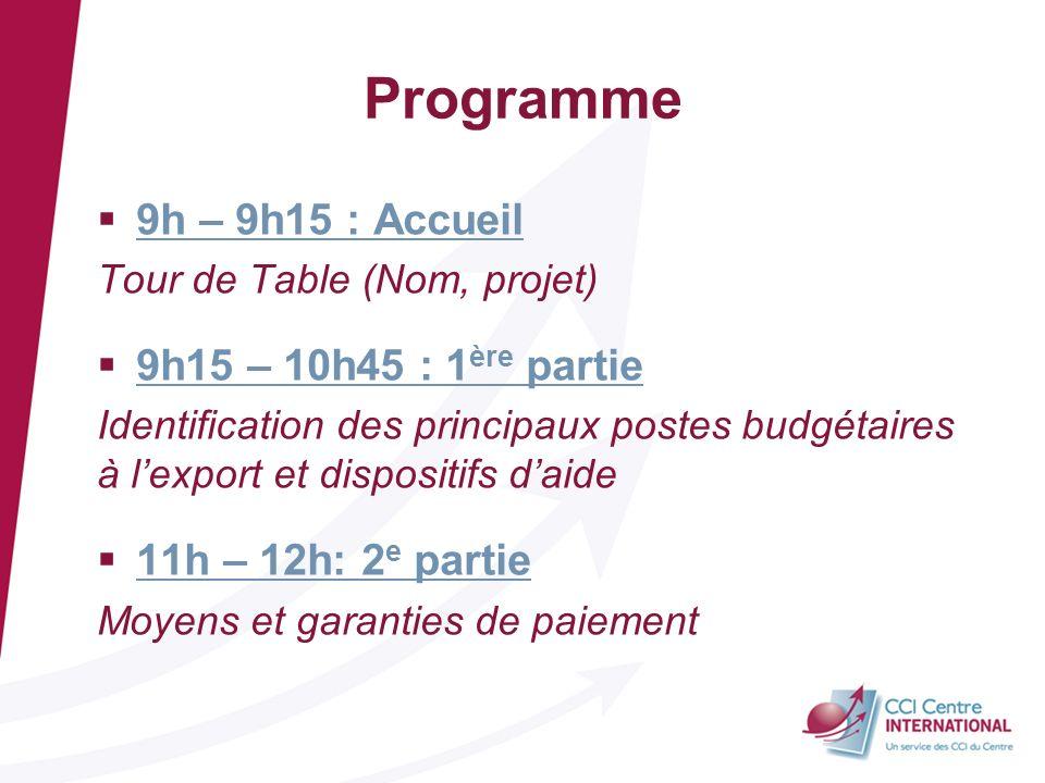 Programme 9h – 9h15 : Accueil Tour de Table (Nom, projet) 9h15 – 10h45 : 1 ère partie Identification des principaux postes budgétaires à lexport et di