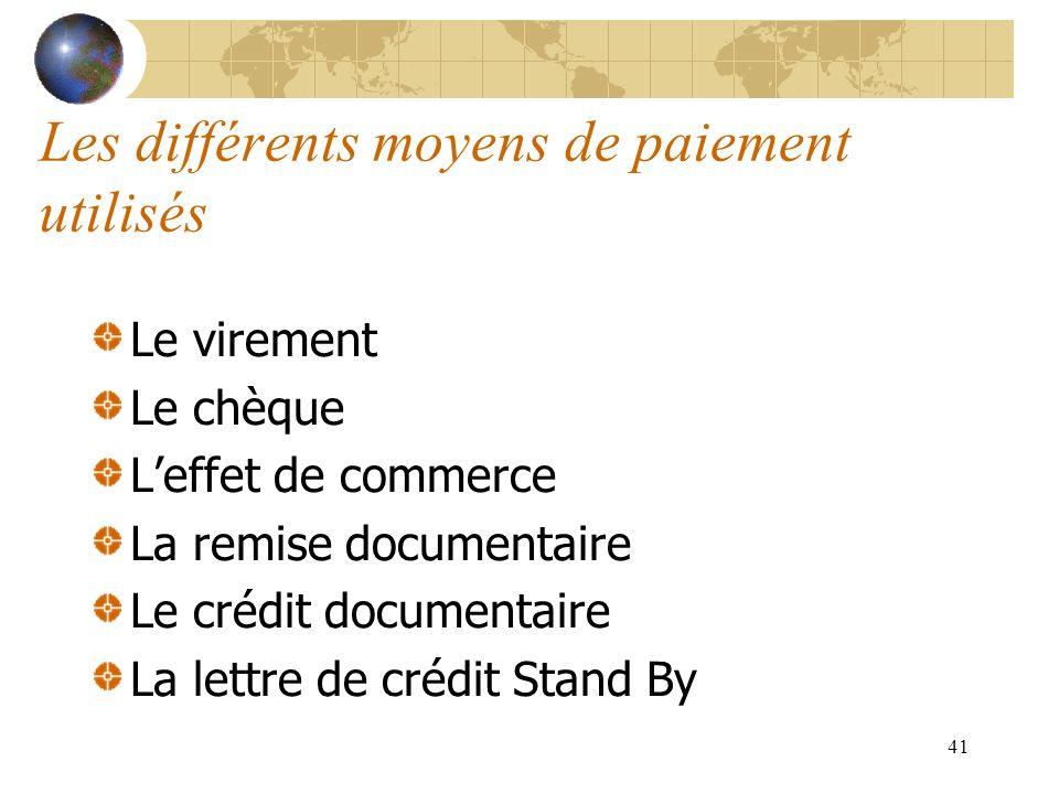 41 Les différents moyens de paiement utilisés Le virement Le chèque Leffet de commerce La remise documentaire Le crédit documentaire La lettre de créd