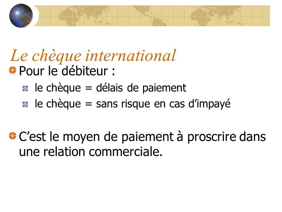 Le chèque international Pour le débiteur : le chèque = délais de paiement le chèque = sans risque en cas dimpayé Cest le moyen de paiement à proscrire