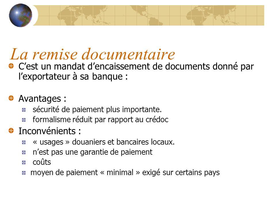 La remise documentaire Cest un mandat dencaissement de documents donné par lexportateur à sa banque : Avantages : sécurité de paiement plus importante