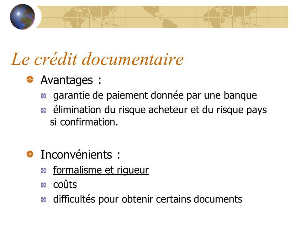 Le crédit documentaire Avantages : garantie de paiement donnée par une banque élimination du risque acheteur et du risque pays si confirmation. Inconv