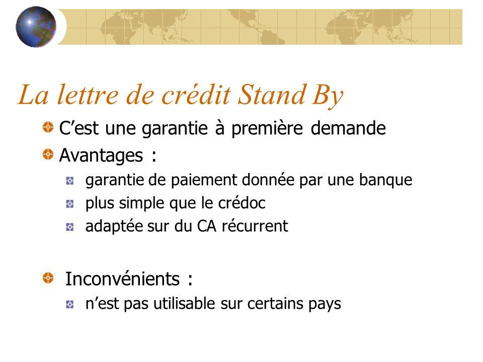 La lettre de crédit Stand By Cest une garantie à première demande Avantages : garantie de paiement donnée par une banque plus simple que le crédoc ada