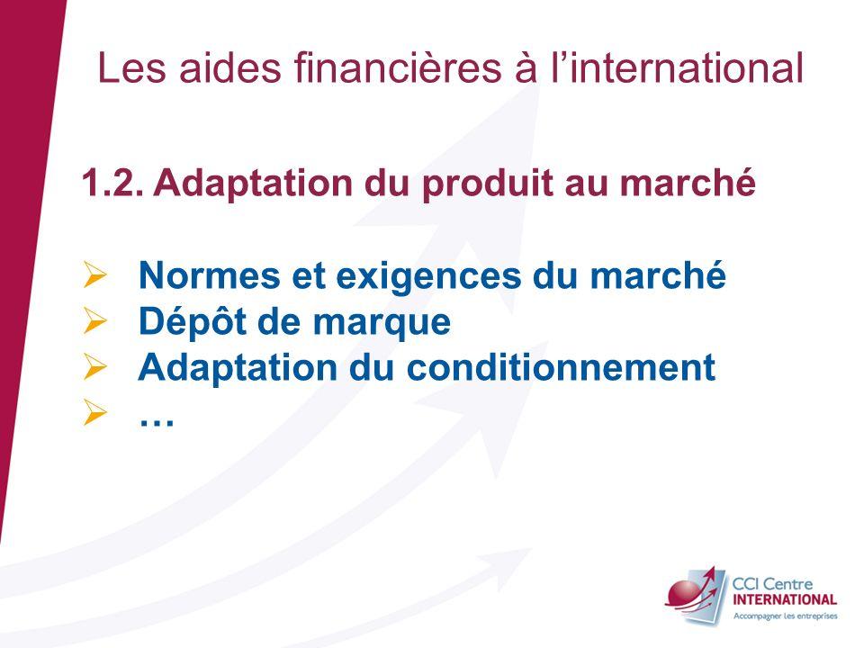 Les aides financières à linternational 1.2. Adaptation du produit au marché Normes et exigences du marché Dépôt de marque Adaptation du conditionnemen