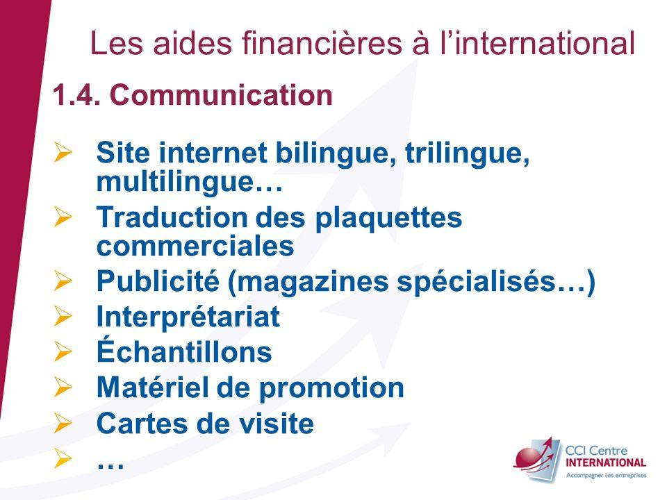 1.4. Communication Site internet bilingue, trilingue, multilingue… Traduction des plaquettes commerciales Publicité (magazines spécialisés…) Interprét