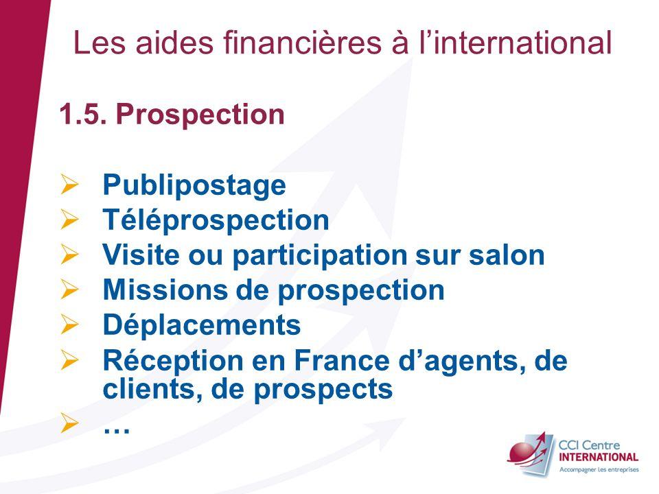 Les aides financières à linternational 1.5. Prospection Publipostage Téléprospection Visite ou participation sur salon Missions de prospection Déplace
