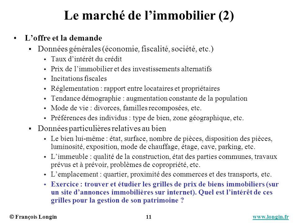 François Longin 11 www.longin.frwww.longin.fr Le marché de limmobilier (2) Loffre et la demande Données générales (économie, fiscalité, société, etc.)