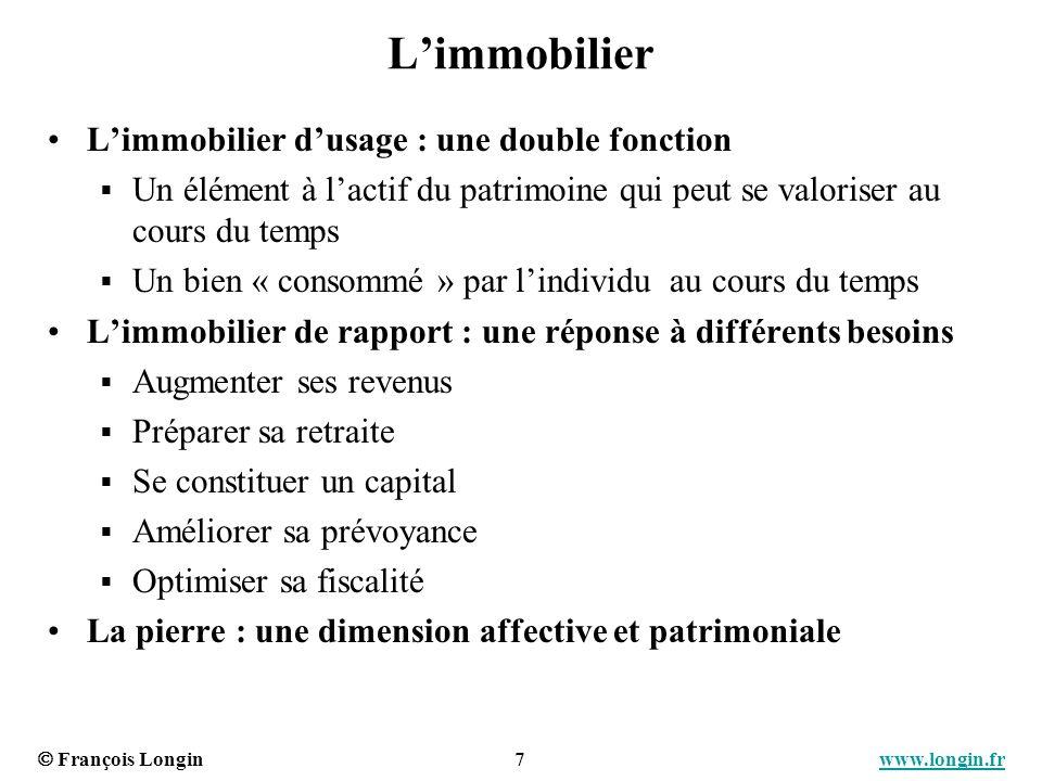 François Longin 7 www.longin.frwww.longin.fr Limmobilier Limmobilier dusage : une double fonction Un élément à lactif du patrimoine qui peut se valori
