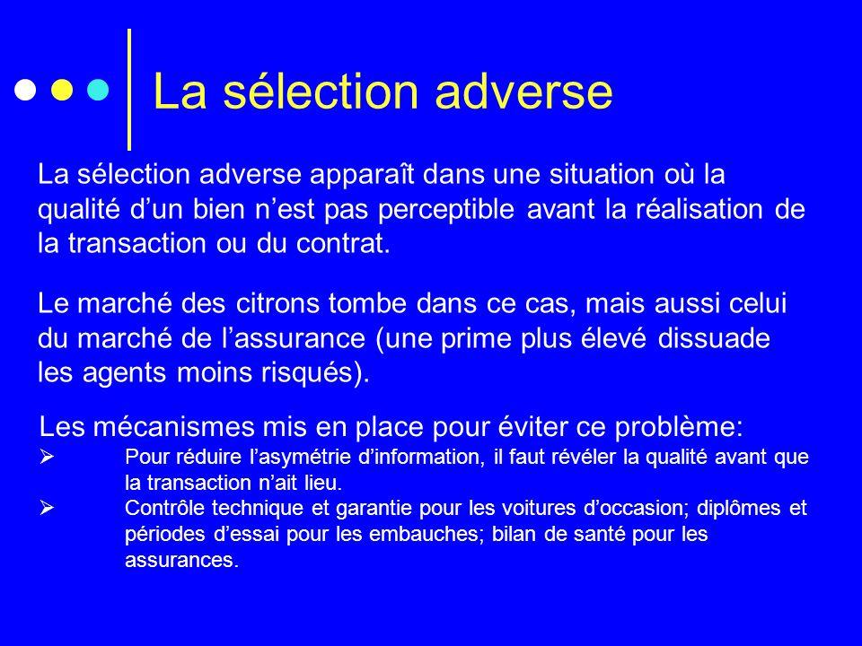 La sélection adverse La sélection adverse apparaît dans une situation où la qualité dun bien nest pas perceptible avant la réalisation de la transacti