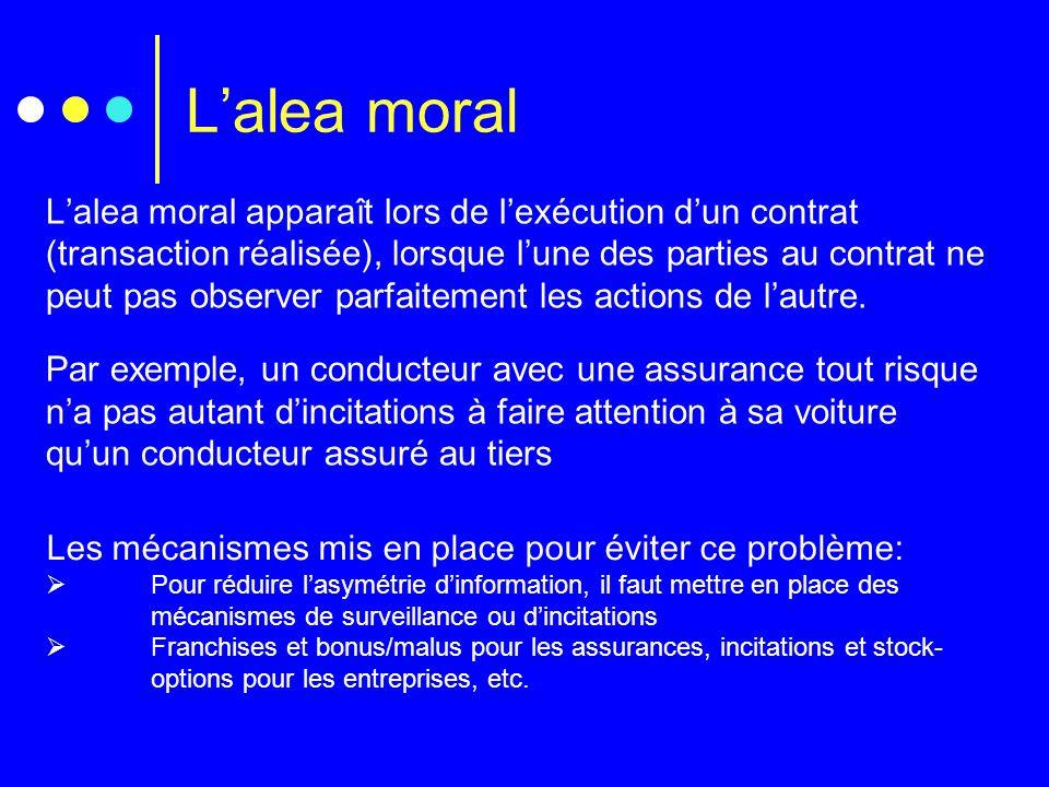 Lalea moral Lalea moral apparaît lors de lexécution dun contrat (transaction réalisée), lorsque lune des parties au contrat ne peut pas observer parfa