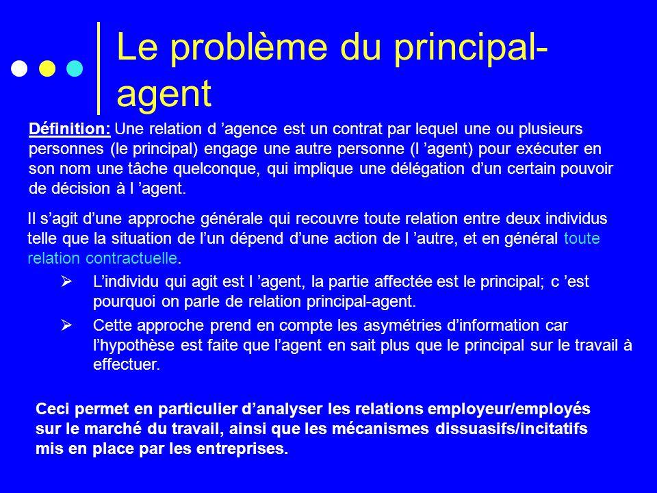 Le problème du principal- agent Définition: Une relation d agence est un contrat par lequel une ou plusieurs personnes (le principal) engage une autre
