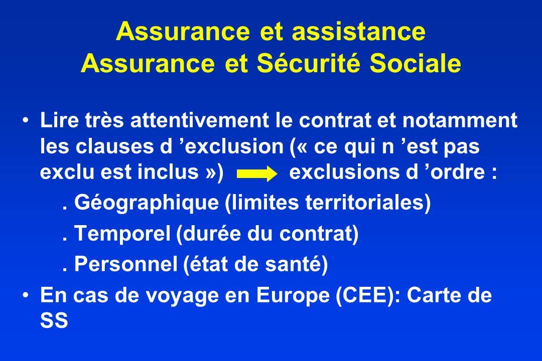 Assurance et assistance Assurance et Sécurité Sociale Lire très attentivement le contrat et notamment les clauses d exclusion (« ce qui n est pas excl