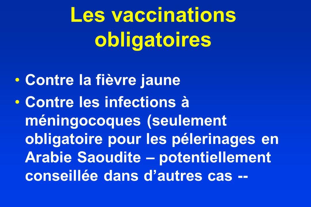 Les vaccinations obligatoires Contre la fièvre jaune Contre les infections à méningocoques (seulement obligatoire pour les pélerinages en Arabie Saoud