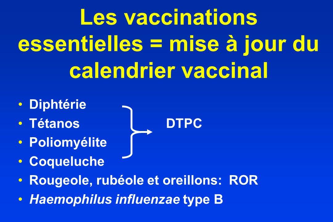 Les vaccinations essentielles = mise à jour du calendrier vaccinal Diphtérie TétanosDTPC Poliomyélite Coqueluche Rougeole, rubéole et oreillons: ROR H